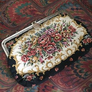 Vintage floral tapestry clutch purse small bag